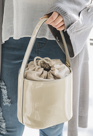 Drawstring Pleather Handbag