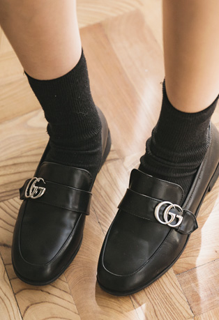 Letter Buckled Front Leatherette Loafers