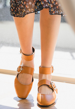 Double-Strapped Faux Leather Flats
