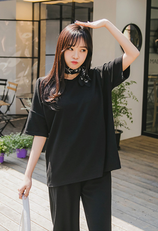 Textured T-Shirt and Wide Pants Set
