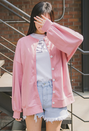 Pink Puffed Sleeves Button Up Cardigan