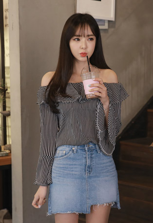 Ruffled Off-Shoulder Striped Blouse