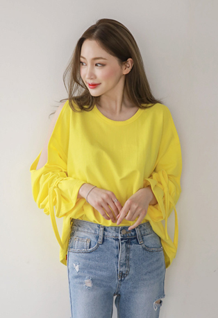 Knot-Tie Sleeves Cold-Shoulder Tee
