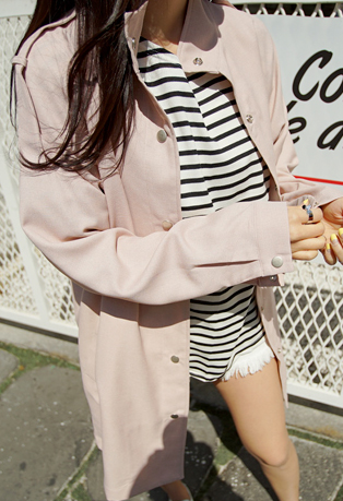 High-Collared Button Up Long Jacket