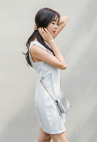 Belted Sides Pinstriped Dress