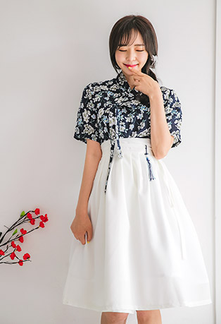 Self-Tie Front Floral Blouse