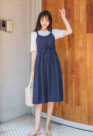 Drawstring Waist Long Dress