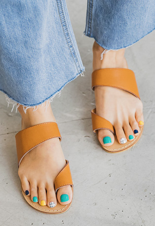 Toe Ring Leatherette Sandals