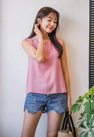 Round Neck X-Strap Back Sleeveless Top