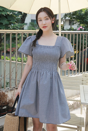 Check Square Neck Elastic Waistband Dress
