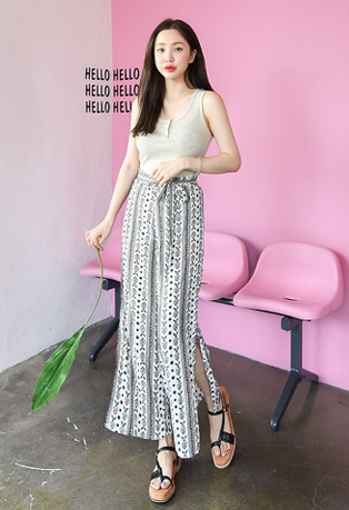 Ethnic High Waist Side Slit Pants