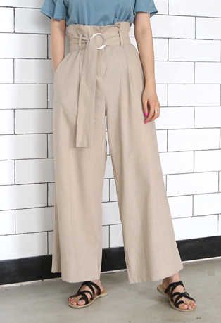 High Waist O-Ring Belt Wide-Leg Pants