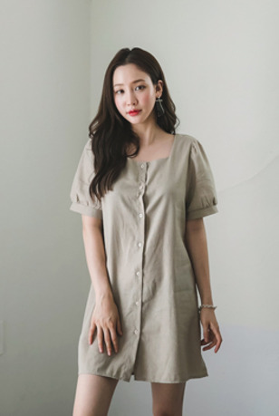Square Neck Button Up Dress