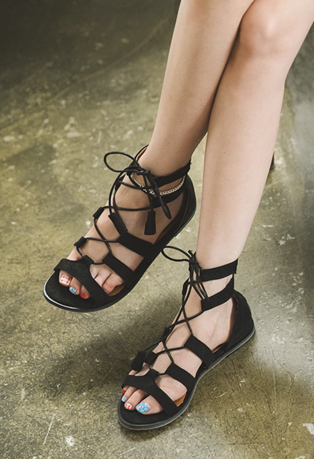 Corset Strap Low-Heeled Sandals