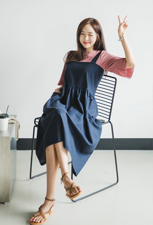 Gathered Waist Loose Overall Dress