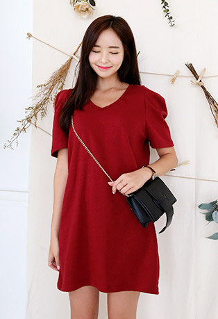 V-Neck Mini Shift Dress