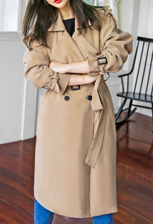 Buckle Detail Double Breasted Trench Coat