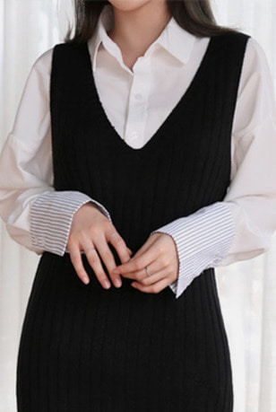 Striped Cuff Loose Fit Shirt
