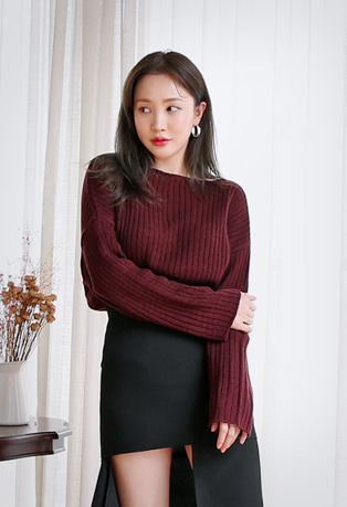 Boat Neck Drop Shoulder Ribbed Knit Top