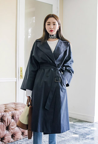 Double Breasted Loose Fit Trench Coat