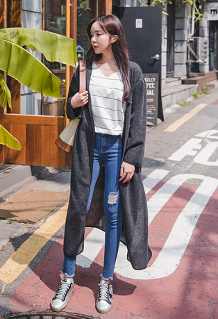V-Neck Drop Shoulder Side Slit Long Cardigan