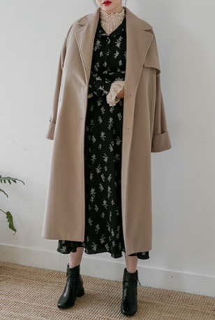 Single Breasted Loose Fit Long Coat