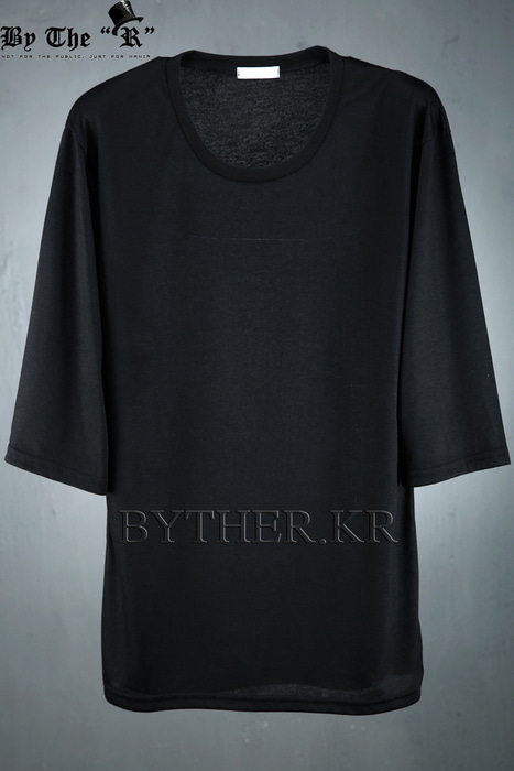 ByTheRMonotone Color 3/4 Length Loose Fit T-shirts
