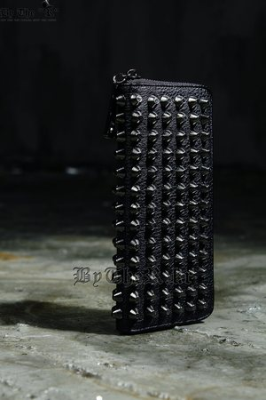 ByTheRHard Studded Custom Black Faux Leather Wallet
