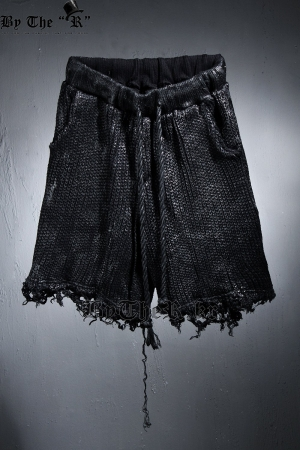 ByTheRByTheR Black Coated Damaged Knit Loose Fit Shorts