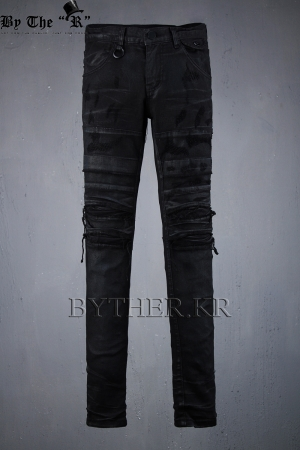 ByTheRDamage Cut Dark Coating Skinny Jeans