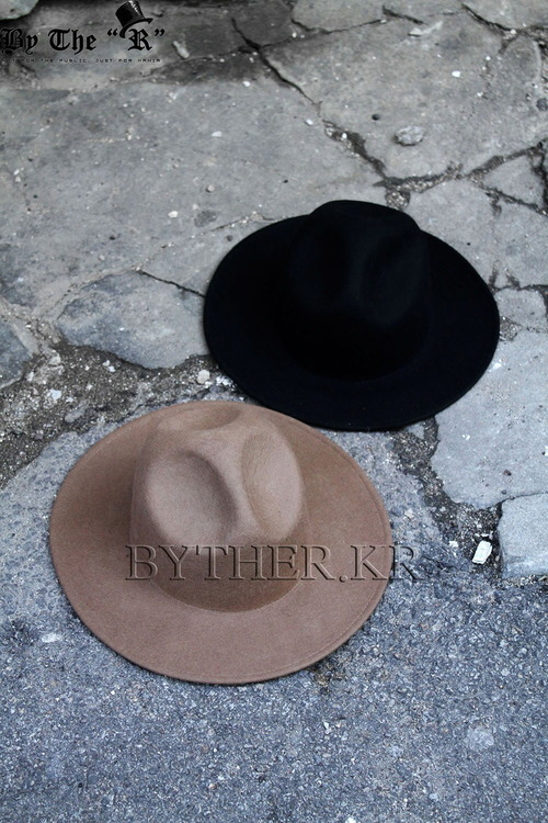ByTheRByTheR Classic Wide Brim Wool Felt Mountain Fedora Hat