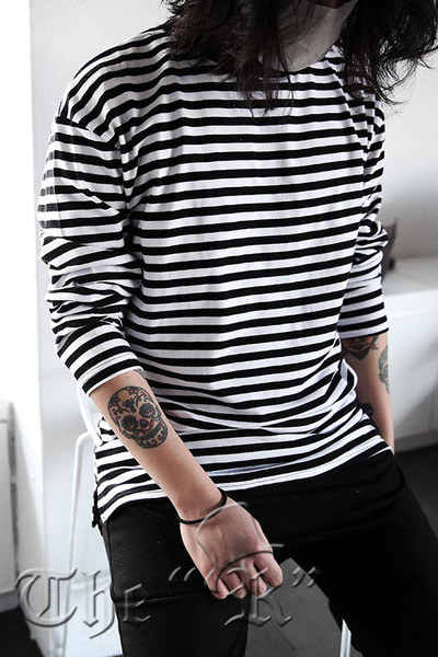 ByTheRBasic Casual Stripe Loose-fit T-shirts
