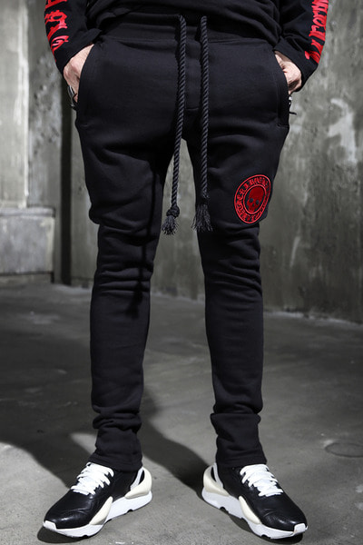 ByTheRByTheR Red Skull Logo Rope Bending Pants
