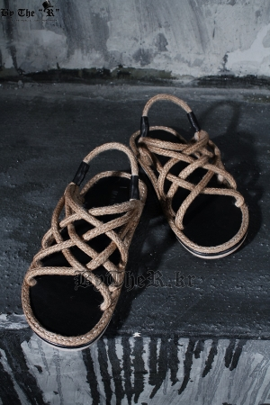 ByTheRCriss Cross Brown Straw Rope Sandal Slippers