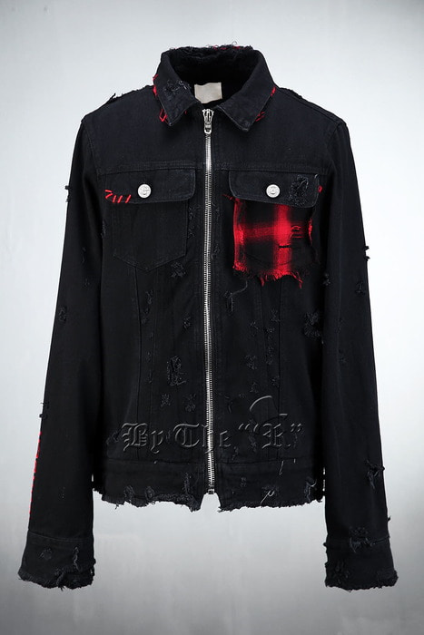 ByTheRGrunge Detail Black Denim Jacket