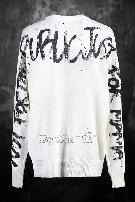 ByTheRByTheR Custom Slogan Sleeve Hand Painted Knit Sweater