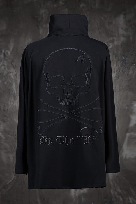ByTheRByTheR Skull Outline Loose Polo T-Shirts