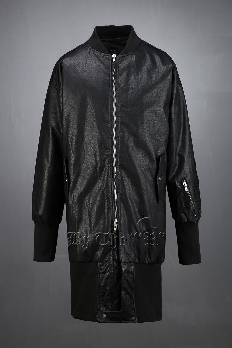 ByTheROver Banding Leather Long Bomber Jacket