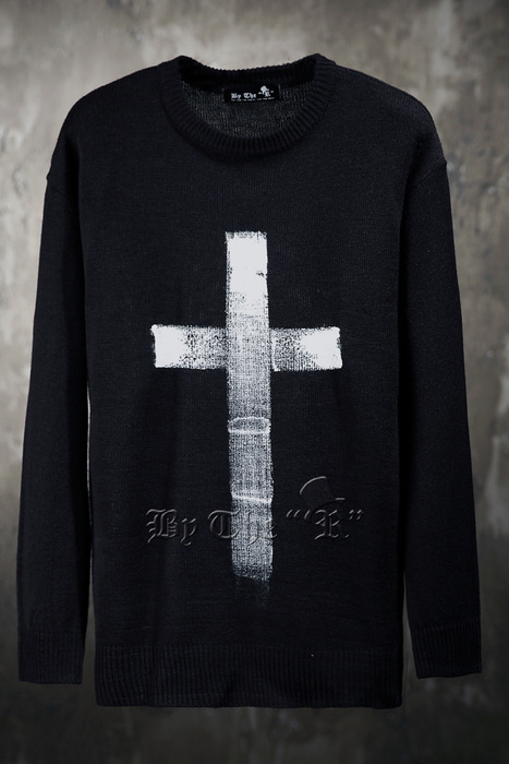ByTheRByTheR Custom Cross Hand Painted Knit Sweater