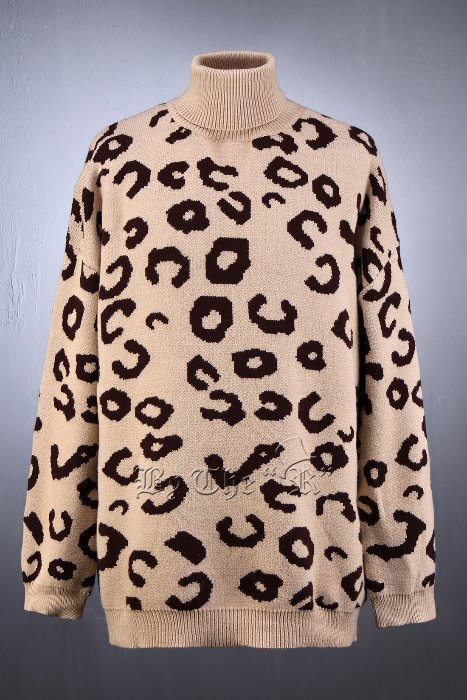 ByTheRIntarsia Leopard Turtle Neck Knit Sweater