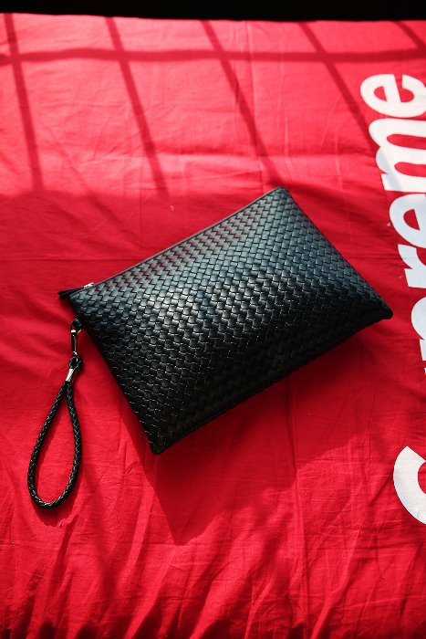 ByTheRLatticework Leather Big Clutch Bag