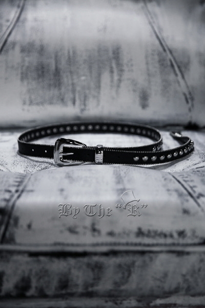 ByTheRRound Studded Slim Leather Belt