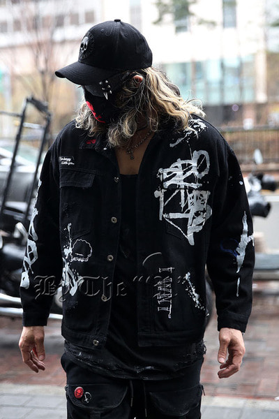 ByTheRPainting and Embroidery Black Denim Jacket