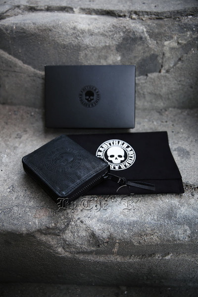 ByTheRByTheR Skull Logo Goat Leather Zip Around Wallet