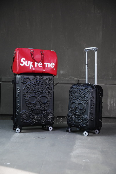 ByTheRSugar Skull Pattern Black Hard Carrier Suitcase