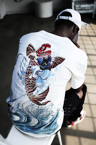 ByTheROriental Red Carp Girl Irezumi Embori T-shirt