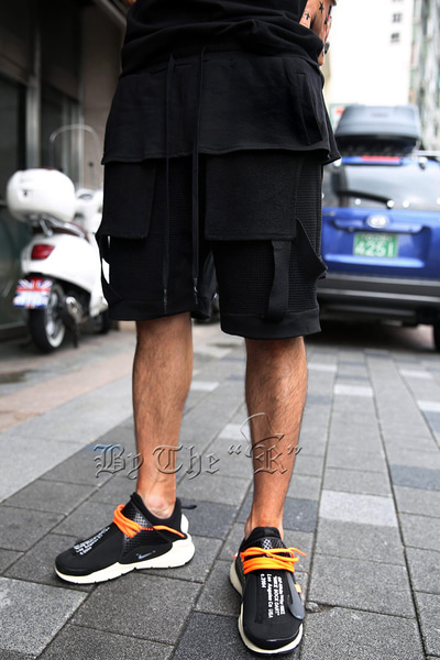 ByTheRFishnet Layered Banding Shorts