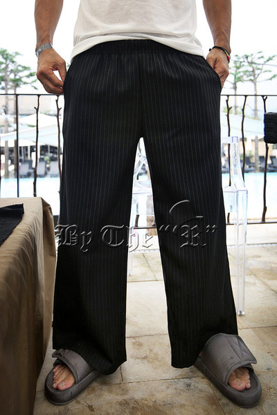 ByTheRPinstriped Wide Banding Pants