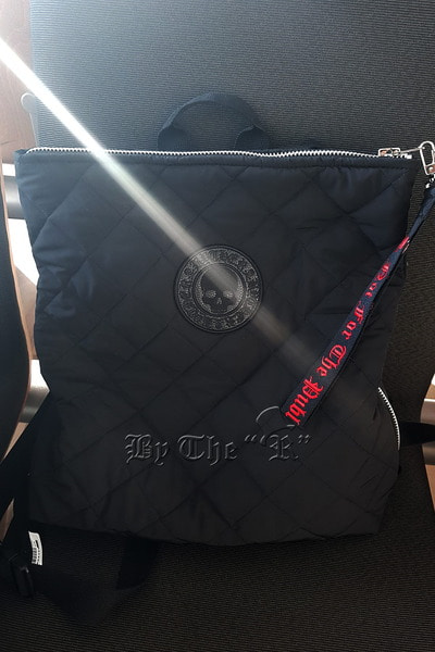 ByTheRByTheR Skull Logo Quilted Backpack
