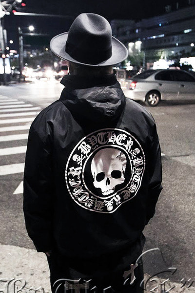 ByTheRByTheR Skull Logo Black Windbreaker Jacket